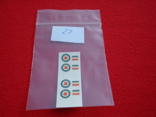 Dinky Toys Two sets of Roundels & Markings for Dinky Aircraft ( Hawker Hunter etc ) TRANSFERS / DECALS